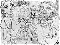 Minotauro, bebedor y mujeres, de Pablo Picasso, AP