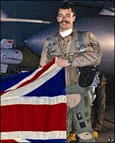 Flight Lieutenant Chris Ball, sporting his long moustache