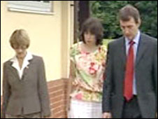 Llywela Jones (centre) arriving at the inquest in Bristol