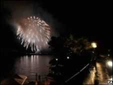 Fireworks explode to celebrate the end of the wedding