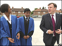 Ed Balls with pupils
