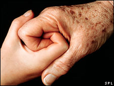 Generic picture of the hands of a young and old person