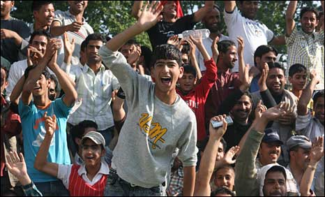Crowds at a football match in Kashmir