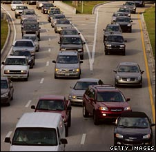 Traffic in Miami as the city ranks as worst for road rage in a survey