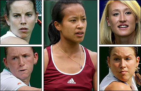 Clockwise from top left: O'Brien, Cavaday, Keothavong, South and Baltacha