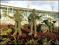 A foliage sculpture of the Beatles in Liverpool - with Ringo's head chopped off