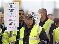 Tanker drivers on the picket line