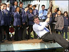 Ed Balls with schoolchildren