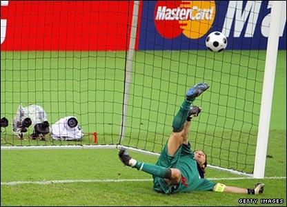 Gianluigi Buffon saves Adrian Mutu's penalty