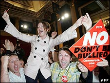 "Supporters of the ""No Vote"" celebrate after the Lisbon Treaty was rejected at the Royal Dublin Society"
