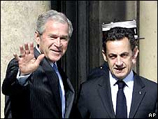 President George Bush is welcomed by French President Nicolas Sarkozy prior to a meeting at the Elysee Palace in Paris.
