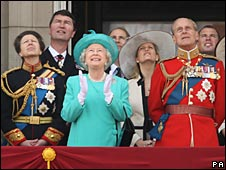 The Queen, Duke of Edinburgh and family watching the flypast