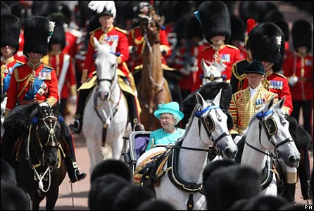 The Queen returning to Buckingham Palace after the parade