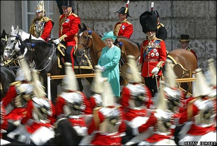 Queen inspecting Trooping the Colour