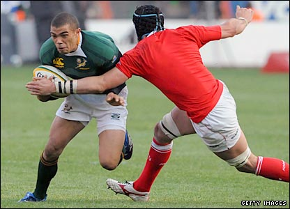Bryan Habana takes on the Wales defence late in the game in Pretoria on Saturday