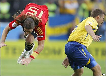 Sergio Ramos takes a tumble