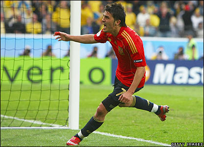 Villa celebrates Spain's winner
