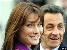 Nicolas Sarkozy and his wife Carla Bruni, 27 March 2008
