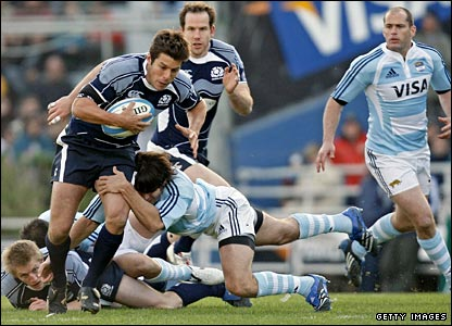 Scotland's Hugo Southwell is tackled by Bernardo Stortoni