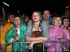Crowd watch Sir Paul McCartney perform in Kiev