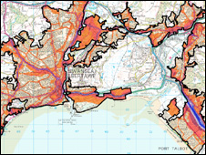 Noise map of Swansea and Port Talbot. Image: Crown copyright