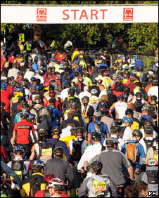 Cyclists on London to Brighton bike ride at start line