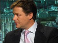 Nick Clegg MP ...photographer Jeff Overs/BBC