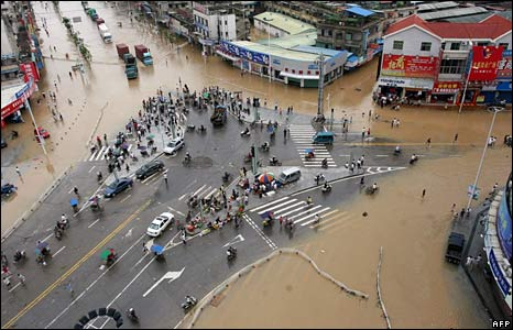 Flood waters in Zhangzhou town, Fujian province, China, 14 June