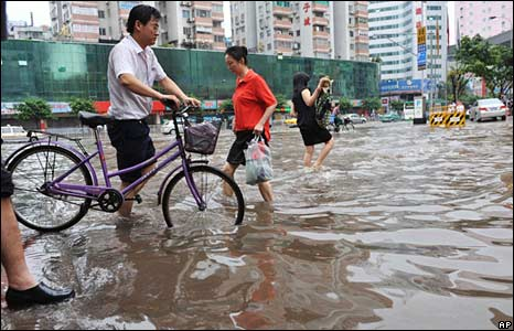 A flooded street in Guangzhou, in China's Guangdong province, 14 June