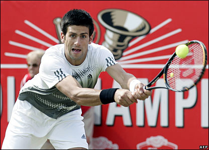 Novak Djokovic plays a backhand during his semi-final win over David Nalbandian