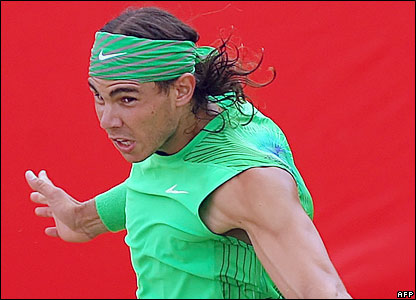 Rafael Nadal plays a backhand during his Artois Championships semi-final win over Andy Roddick
