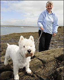 Milo the dog and owner Lynda Pomfret