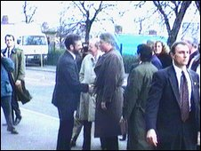Bill Clinton famously shook hands with Gerry Adams on the Falls Road in 1995