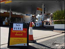 Closed petrol station