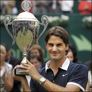 Federer with the trophy
