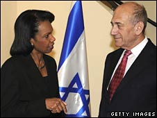 Condoleezza Rice meets Ehud Olmert in Jerusalem on 15 June 2008