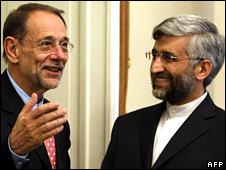 UN foreign policy chief Javier Solana and Iran's top nuclear negotiator Saeed Jalili in Tehran on 14 June 2008