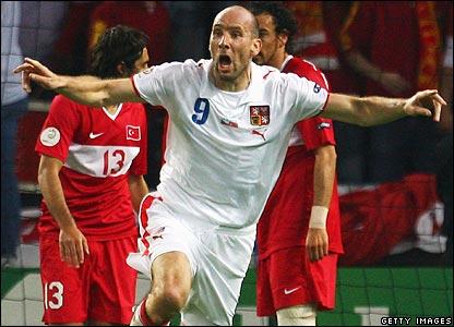 Koller celebrates the opening goal