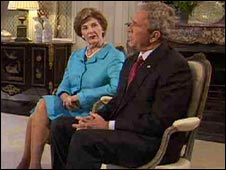 George and Laura Bush during Sky interview