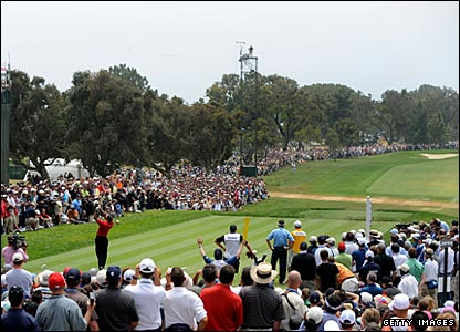 Tiger Woods and Lee Westwood tee off on the 1st in the final round of the 2008 US Open at Torrey Pines