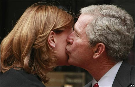 George Bush greeting Sarah Brown