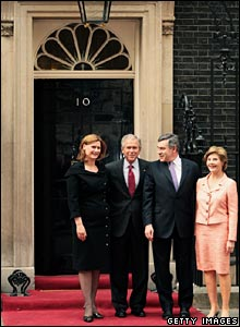 Sarah Brown, George Bush, Gordon Brown and Laura Bush outside Downing Street.
