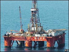 File image of a Chinese gas drilling rig in the East China Sea