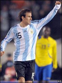Argentina's Rodrigo Palacio celebrates his goal