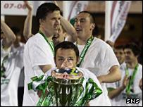 Celtic celebrate winning the SPL title last season
