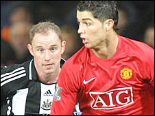 Manchester United's Cristiano Ronaldo and Newcastle's Nicky Butt