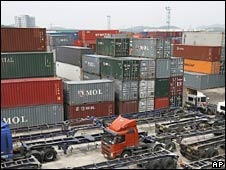 Containers mount up at Uiwang container base in Uwang, South Korea, on Saturday
