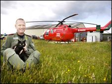 Irfon Davies with TC the cat