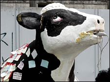 A papier mache cow used in protests in South Korea concerning US beef imports