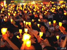 A candlelit protest against US beef imports in Seoul, South Korea, on Sunday